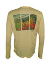 Wear this brown trout sun protection fishing shirt for UPF50 solar performance. Back View.