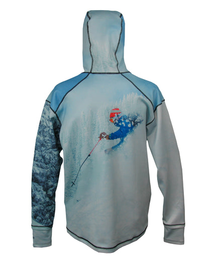 Pow 1/4 Zip Hoodie back view mountain clothing brand offers SPF Protection from harmful UV Rays.  Enjoy the picture hoodies or just spend a day skiing.