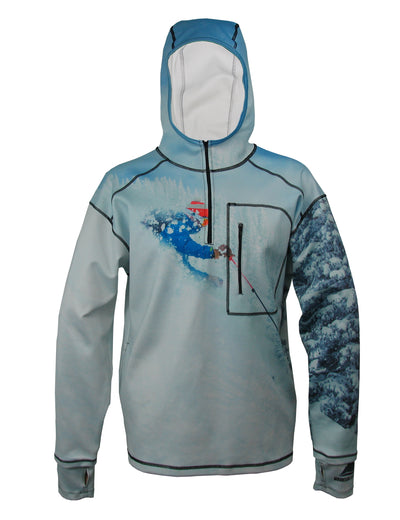 Pow 1/4 Zip Hoodie mountain clothing brand offers SPF Protection from harmful UV Rays.  Enjoy the picture hoodies or just spend a day skiing.