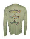 Men's Sun Protective Fishing Shirt Sage Green/Trout Trio