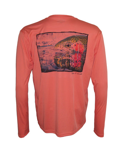 "Wear this ""Rainbow Reflections"" rainbow trout sun protection fishing shirt for UPF50 solar performance. Back view."