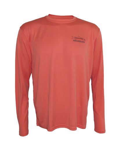 "Wear this ""Rainbow Reflections"" rainbow trout sun protection fishing shirt for UPF50 solar performance."