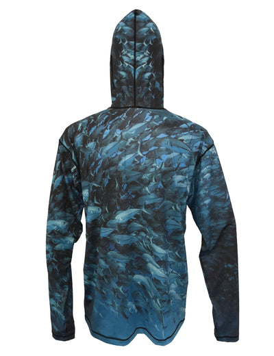 Scuba Jacks surfing and diving hoodie offers sun protection with a built in face mask.  Perfect for a day at the beach or on the ocean. Back view.