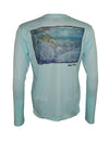 Wear this bonefish sun protection fishing shirt for UPF50 solar performance. Back view.