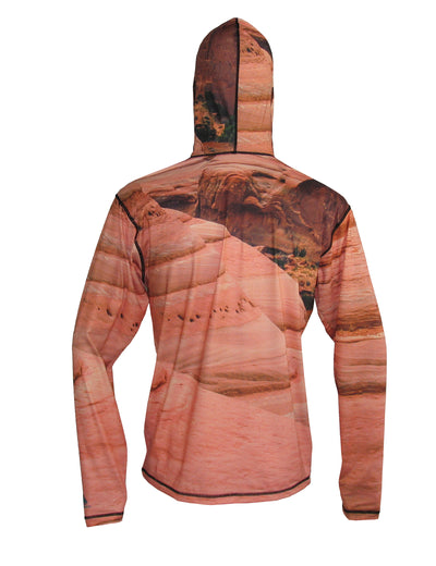 Slick Rock UPF50 SunPro Mountain Graphic Hoodie shows a mountainbiker near Moab and Arches National Park. Canyonlands on this back view.