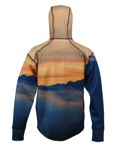 Snowboarder#1 1/4 Zip Hoodie back view mountain clothing brand offers SPF Protection from harmful UV Rays.  Enjoy the picture hoodies or just spend a day skiing.