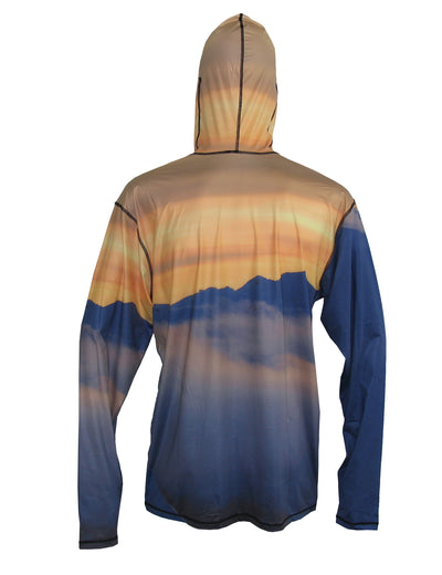 Snowboarder#1 SunPro Hoodie mountain clothing brand offers SPF Protection from harmful UV Rays. Enjoy the picture hoodies or just spend a day skiing. Back View,