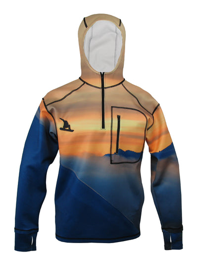 Snowboarder#1 1/4 Zip Hoodie mountain clothing brand offers SPF Protection from harmful UV Rays.  Enjoy the picture hoodies or just spend a day skiing.