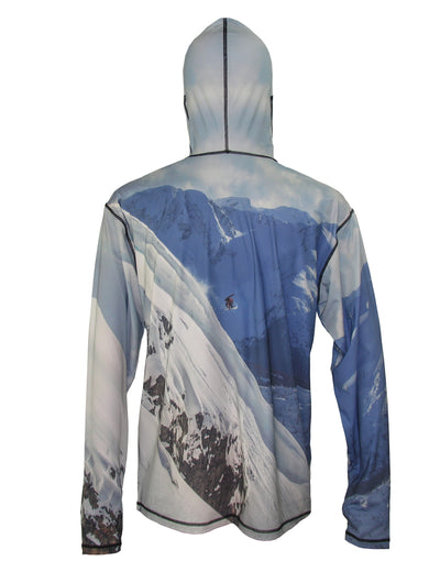 Snowboarder#2 SunPro Hoodie back view mountain clothing brand offers SPF Protection from harmful UV Rays.  Enjoy the picture hoodies or just spend a day skiing.