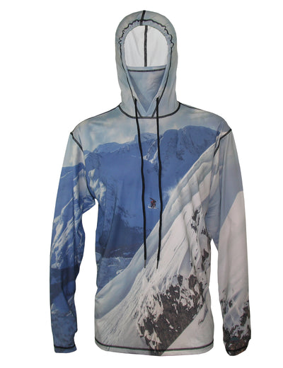 Snowboarder#2 SunPro Hoodie mountain clothing brand offers SPF Protection from harmful UV Rays.  Enjoy the picture hoodies or just spend a day skiing.