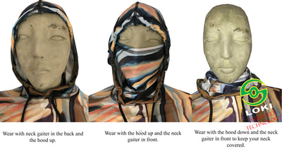 Built in neck gaiters give SPF sun protection like a buff.