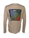 "Wear this""Sapphire"" rainbow trout sun protection fishing shirt for UPF50 solar performance. Back view."