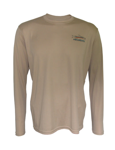"Wear this ""Sapphire"" rainbow trout sun protection fishing shirt for UPF50 solar performance."