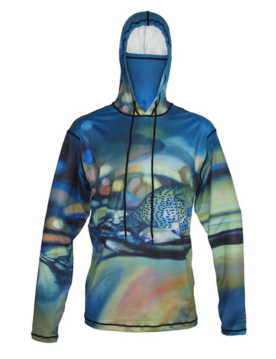 Took The One Sunpro Hoodie with an AD Maddox painting doubles as running clothes or fly fishing apparel, either is perfect river or trail.
