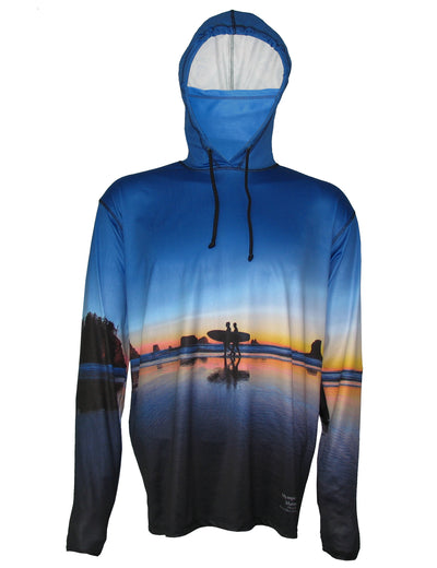 Two Surfers Lightweight Sunpro Hoodie gives UPF sun protection on the beach for surfing.  Great surf apparel.