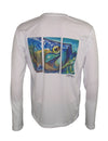Men's Sun Protective Fishing Shirt White/Tarpon Layup