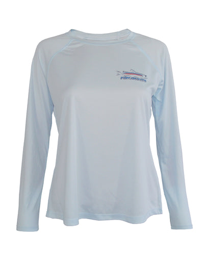 Women's Sun Protective Fishing Shirt Arctic Blue/Whiplash Rainbow Trout