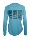 Women's Sun Protective Fishing Shirt Water Blue/Hen Rainbow