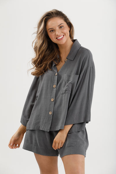 Stay at Home Loungeset Charcoal Linen Viscose