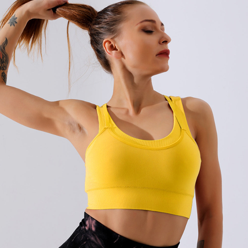 shock-proof full coverage padded support moisture wicking breathable sports bra Keliana  yellow