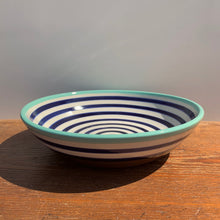 Load image into Gallery viewer, Shallow serving dish navy stripe
