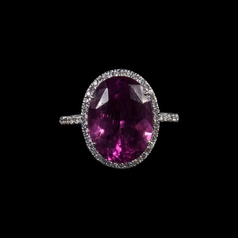 Rare 21 Ct Ceylon Amethyst with Diamond Halo Ring - saba diamonds
