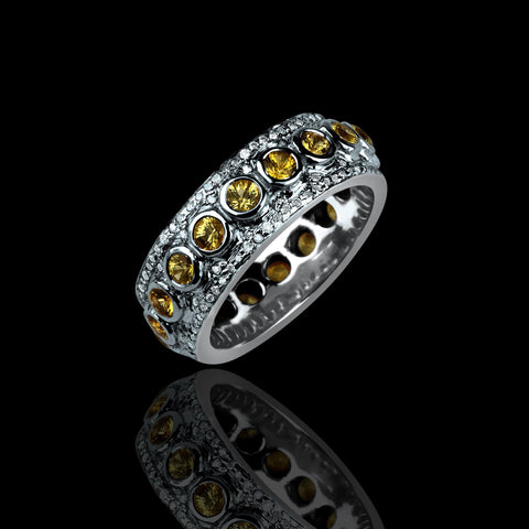 Yellow Sapphires With Diamond Cluster Ring - saba diamonds