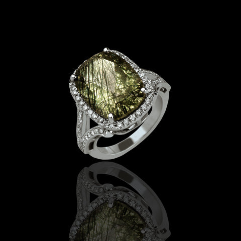 Green Rutilated Quartz Ring with Diamond Halo - saba diamonds
