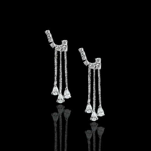 18k Gold and Diamond Hanging Pear Shaped Earrings - saba diamonds