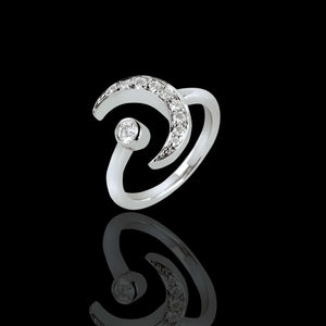 Half Moon 18k White Gold and Diamond Ring - saba diamonds
