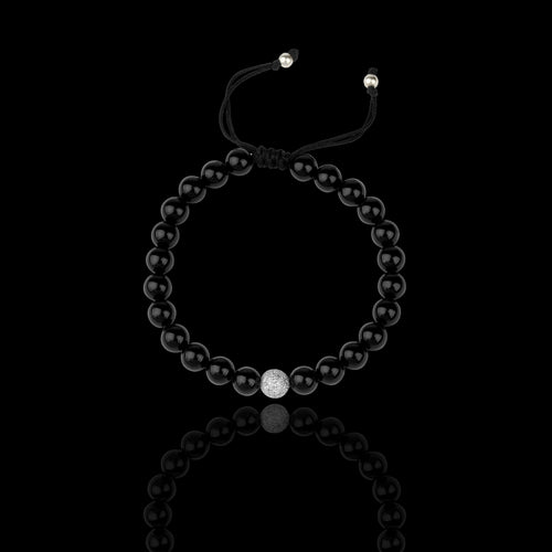 Black Onyx Beads With 18k White Gold and Diamonds - saba diamonds
