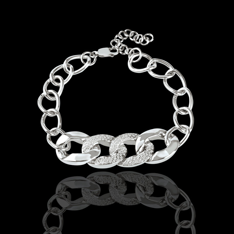 Half Cuban Link Diamond Bracelet - saba diamonds