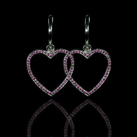 18k Gold and Ruby Heart Shaped Earrings - saba diamonds