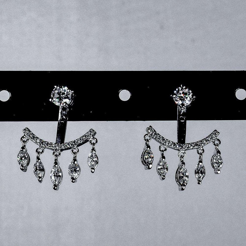 Hanging Marquee Diamonds and Round Stud Earrings