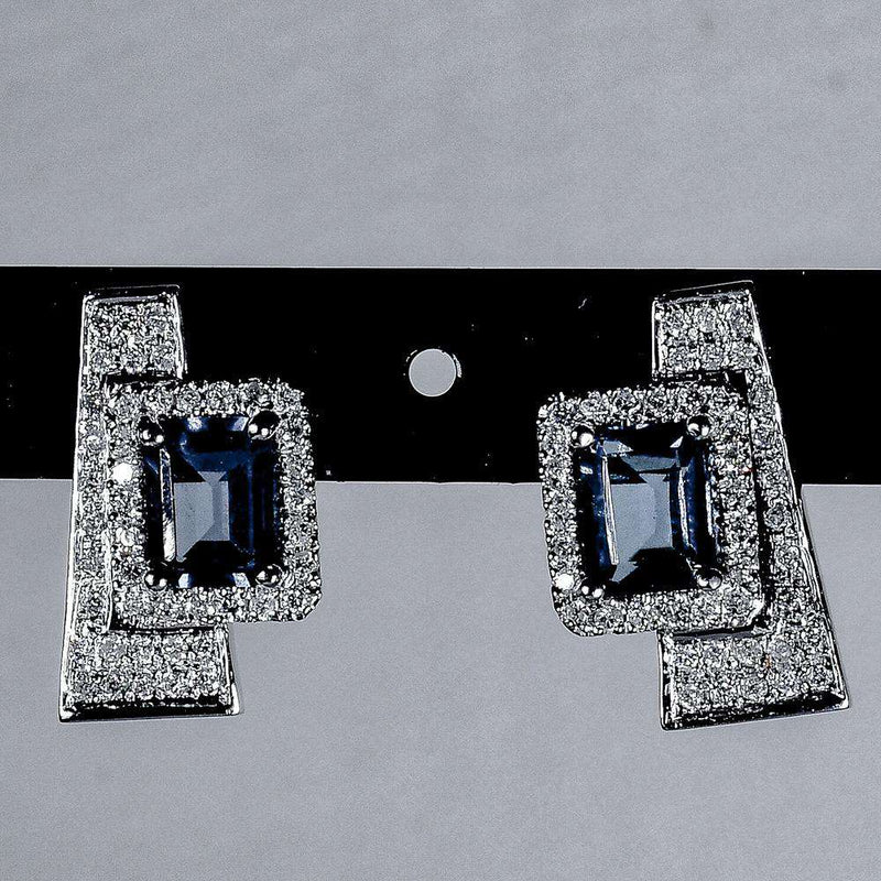 Art Deco Blue Topaz and Diamond Earrings