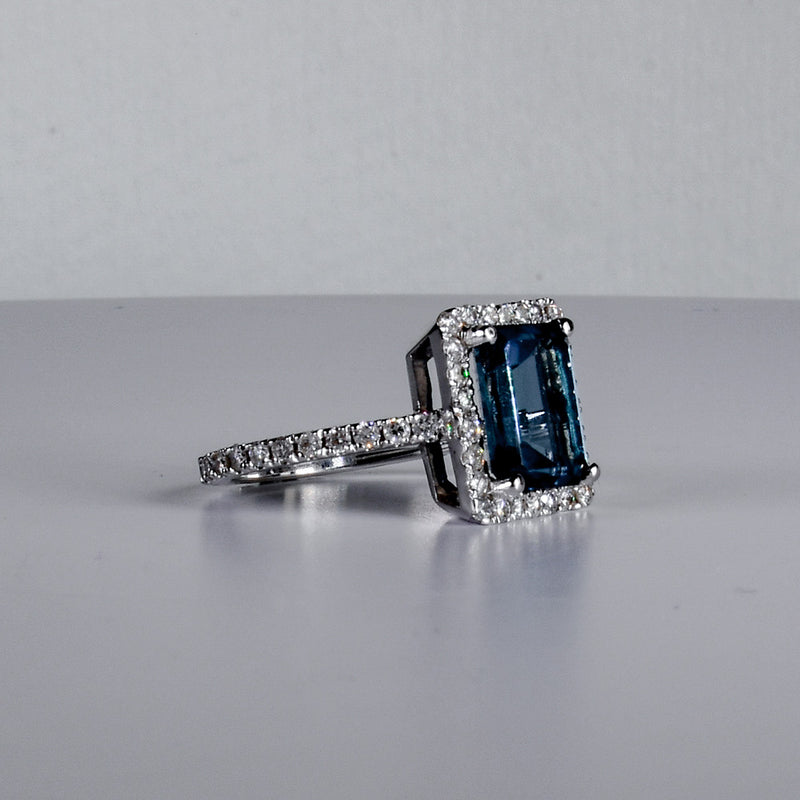 Blue Topaz with Diamond Halo Ring