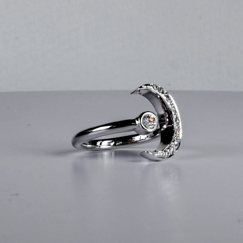 Half Moon 18k White Gold and Diamond Ring