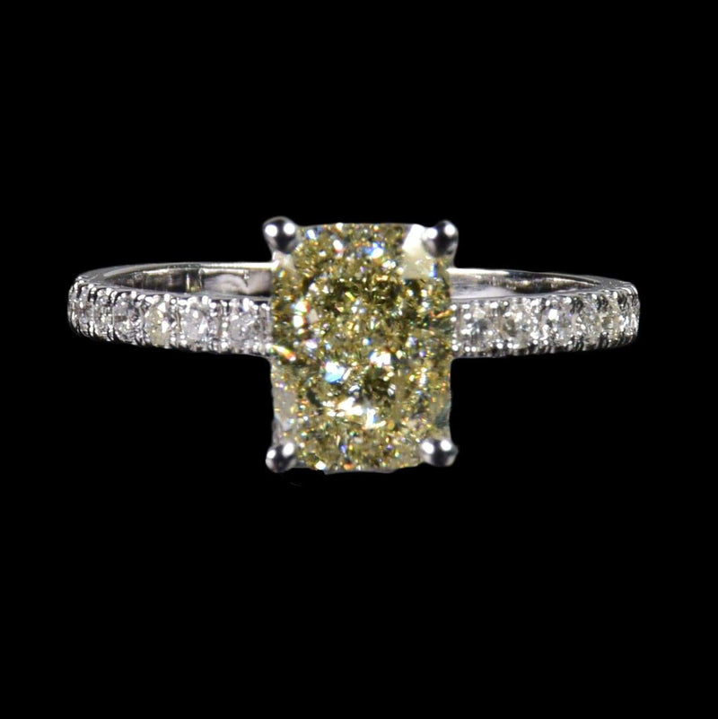 1.59 ct Yellow Cushion Cut Diamond Solitaire with Half Diamond Band in 18k White Gold - saba diamonds