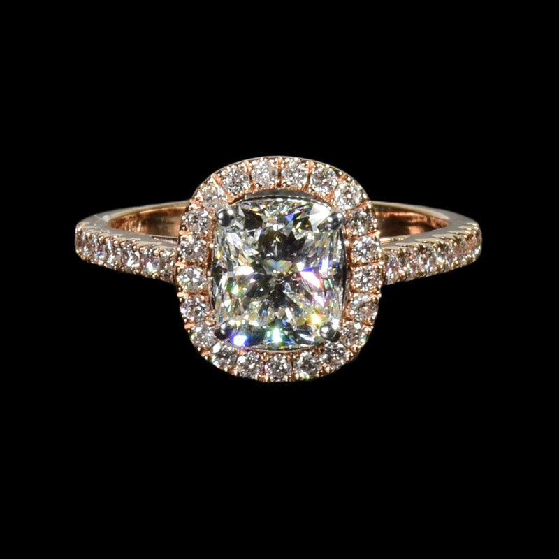 1.61ct Cushion Cut Diamond in 18k Rose Gold - saba diamonds
