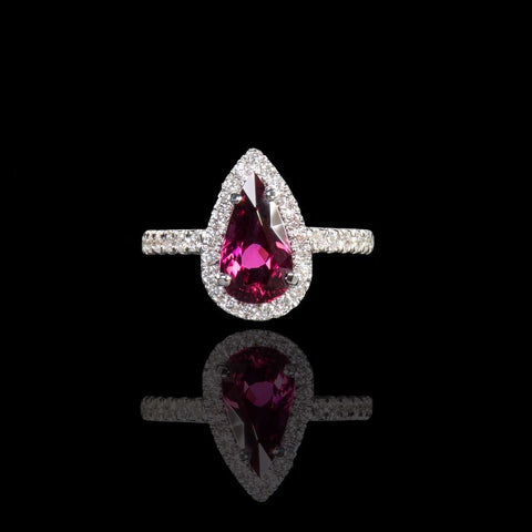 Rubellite with Diamond Halo Ring - saba diamonds