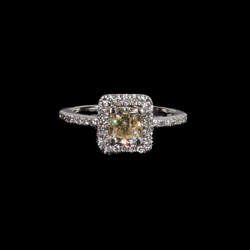 1.09 ct Light Yellow Cushion Cut Diamond Ring with Diamond Halo in 18k White Gold - saba diamonds
