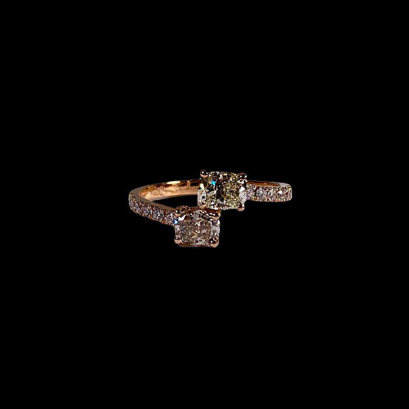 2 Cushion Cut Ring with Side Diamonds 1.2ctw of Diamonds in 18k Rose Gold - saba diamonds