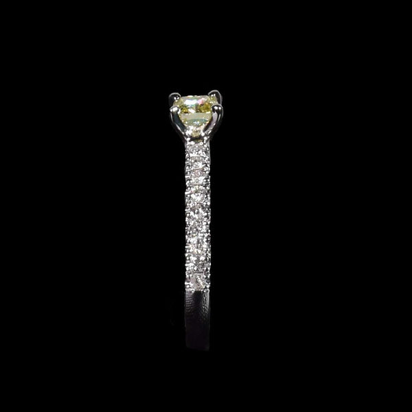 36 Pointer Fancy Yellow Diamond With White Diamond Band in 18k Gold - saba diamonds