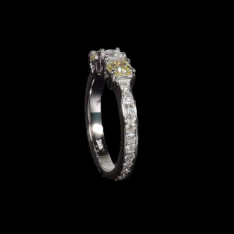 1.41 ctw 3-Stone Fancy Yellow Cushion and Round Brilliant Diamond in 18k White Gold - saba diamonds
