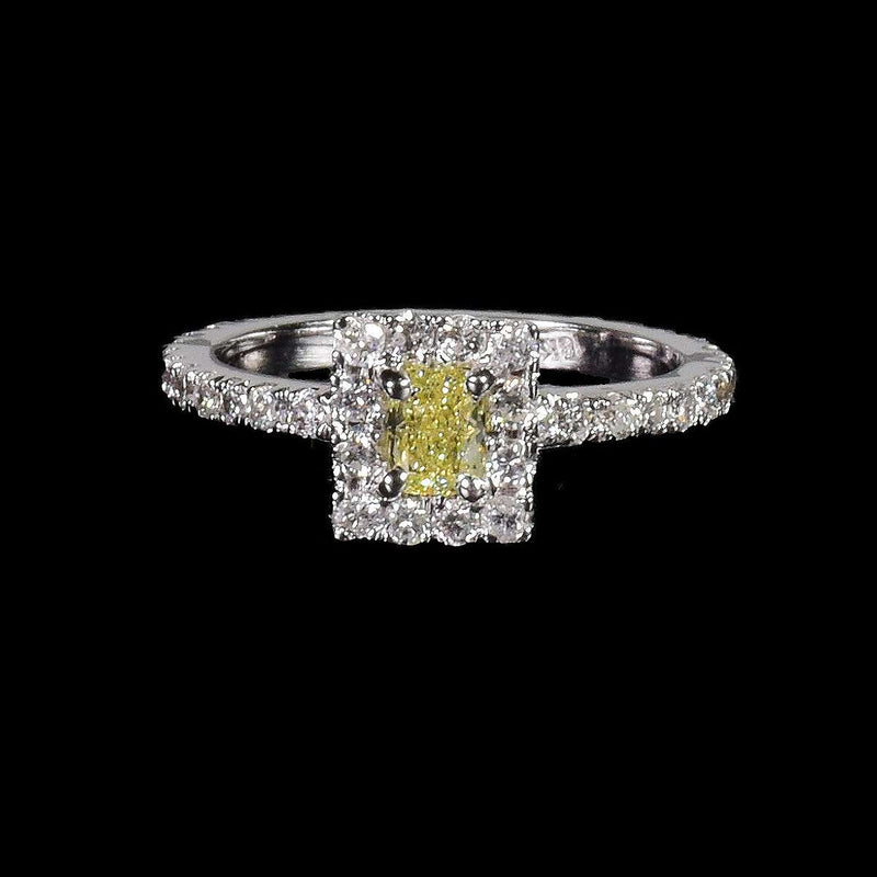 0.37 ct Fancy Yellow Cushion Cut Diamond with a Diamond Halo in 18k White Gold - saba diamonds