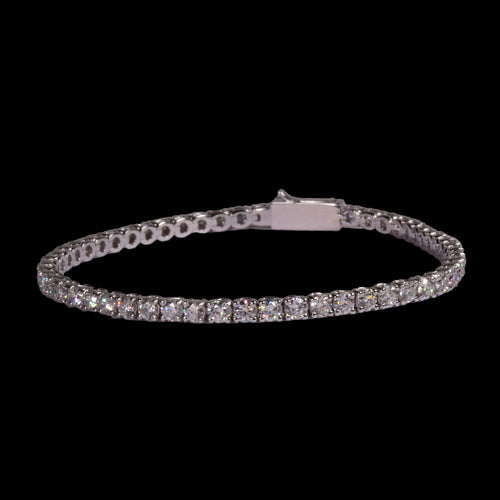 9 Pointer 4.95 ctw Round Diamond Tennis Bracelet in 18k White Gold - saba diamonds
