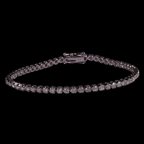 4 Pointer 2.4 ctw Round Diamond Tennis Bracelet in 18k White Gold - saba diamonds