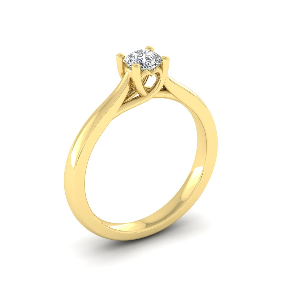 9ct Gold 0.25ct Diamond 'Cariad' Solitaire Engagement Ring. 9ct Rose, Yellow or White Gold.
