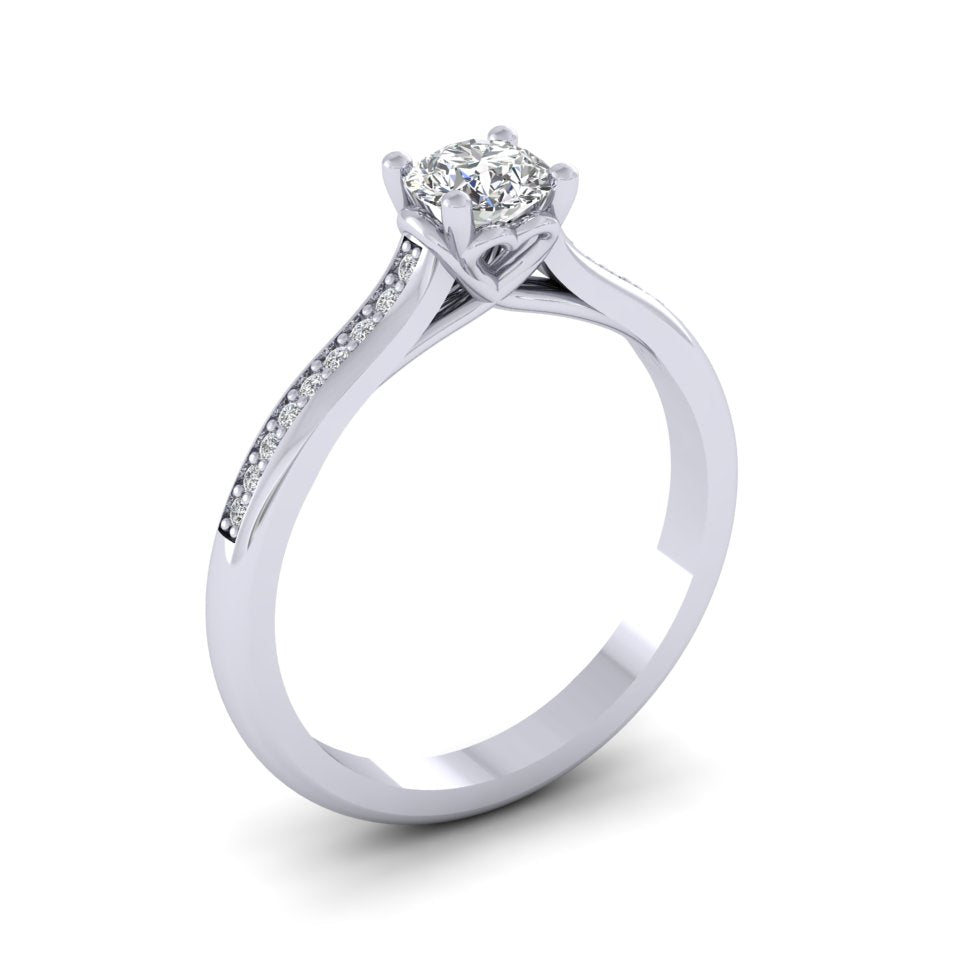 Platinum 0.50ct Diamond 'Love' Solitaire Engagement Ring.