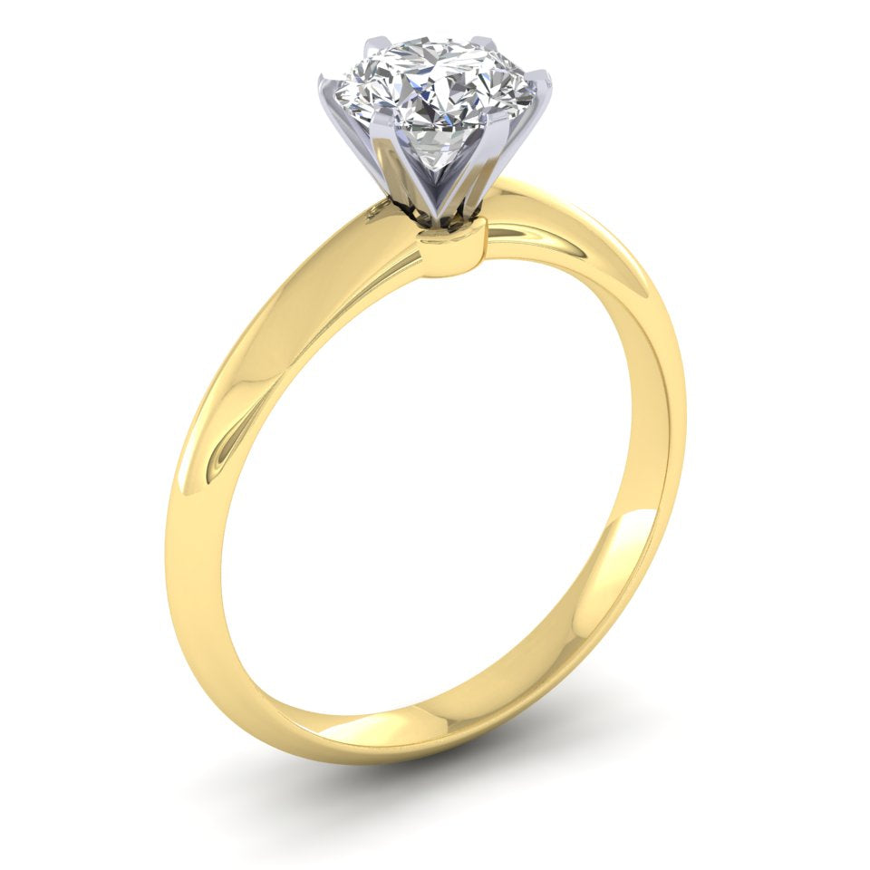 18ct Yellow Gold & Platinum Tiffany Style 1.30ct Diamond Solitaire Engagement Ring H/Si. 18ct Rose, Yellow or White Gold.